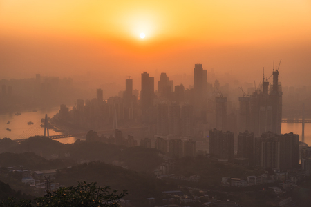 Chongqing sunset skyline Stock Photo - 102892696