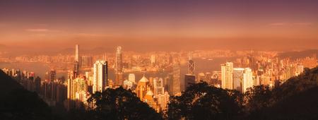 Hong Kong sunset skyline