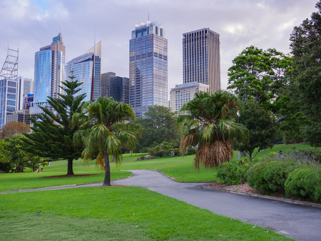 April 1st, 2018, Sydney, Australia - Royal Botanic garden landscape on a weekend