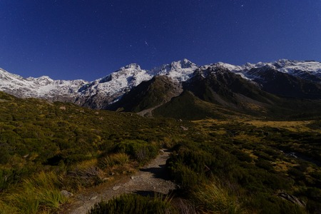 Mount. Cook at night under moonlight Stock Photo