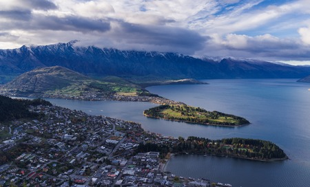 aerial view of Queenstown in daytime Stock Photo