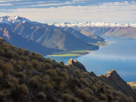 Lake Hawea and mountain landscape new zealand Stock Photo