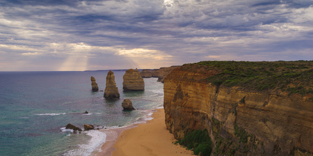The sunset over the Twelve Apostles, Victoria,Australia Stock Photo