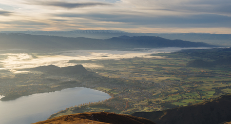 Cloudy morning overlooking of Lake Wanaka. South Island of New Zealand.