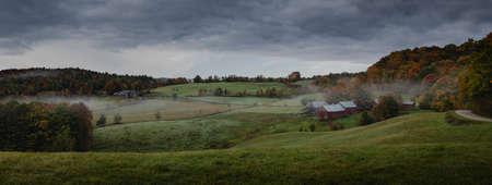 gloomy fall landscape, Jenne Farm, Vermont USA