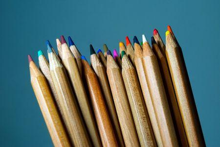 disordered: Disordered pencils with blue background. Stock Photo