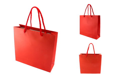Shopping bag paper red color isolates on white background (clipping path includes)