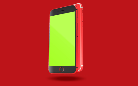 Red Phone Front and Back View Mockup Banco de Imagens