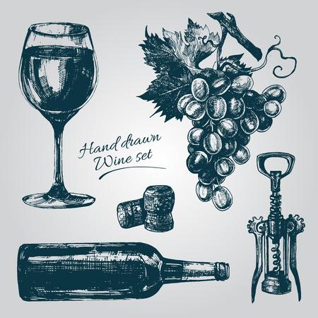 Hand Drawn elementos de vinos que incluye copa de vino, botella, corcho del vino, uva, sacacorchos.