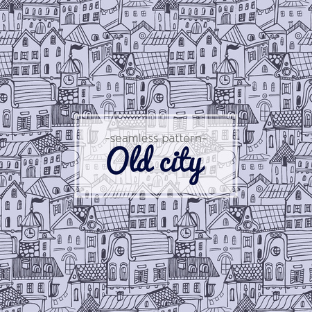old city: Hand Drawn Old City seamless pattern with old Europe town
