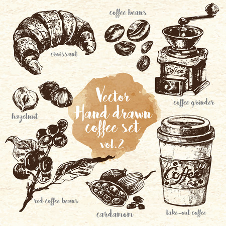 hazelnut: Including take-out coffee, croissant, retro coffee grinder, hazelnut, cardamom, coffee beans and raw coffee. Design elements for restaurants and menus. Ink drawn illustrations. Vintage style. Illustration