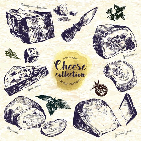 Hand Drawn Cheese Set. Including goat cheese, mozzarella, smoked gouda, blue cheese, parmesan, cheese knife and spices. Ink illustration in vintage style.