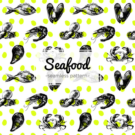 delicacy: Hand Drawn Seafood Pattern including mussel, fish, crab, shrimp and octopus on yellow dotted background Illustration