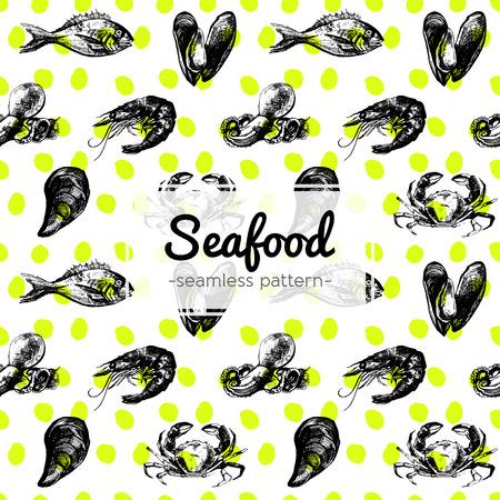 Hand Getrokken Seafood Patroon met inbegrip van mosselen, vis, krab, garnalen en octopus op gele gestippelde achtergrond