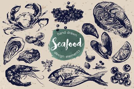게, 빨간색과 검은 색 캐비어, 굴, 홍합, 새우, 연어 스테이크와 황새 포함 일러스트