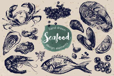 cangrejo: Incluyendo cangrejo, caviar rojo y negro, ostras, mejillones, camarones, filete de salmón y dorado