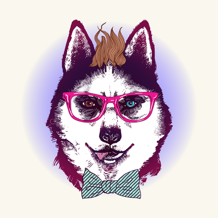 Hipster husky dog in sunglasses. Hand drawn fashion animal illustration. Иллюстрация