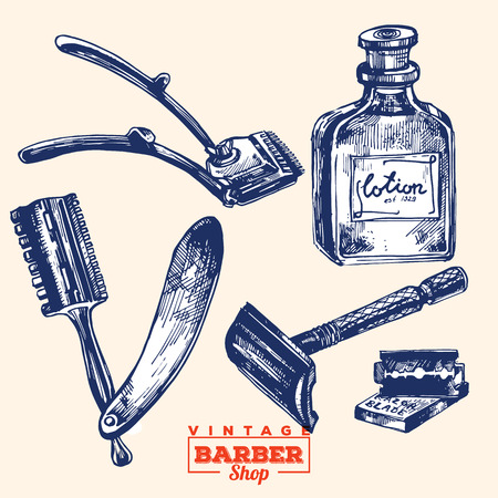 éléments barbershop Vintage. Set 2. Y compris la lame de rasoir, rasoir, bouteille de lotion et tondeuses Vecteurs