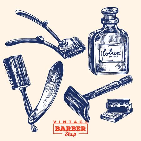 shaver: Vintage barbershop elements. Set 2. Including razor blade, shaver, lotion bottle and hair clippers