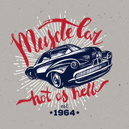 Muscle car. Retro classic amercian car. T-shirt hipster design Иллюстрация