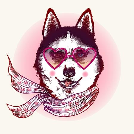 dog: Hipster husky dog in sunglasses. Hand drawn fashion animal illustration. Illustration