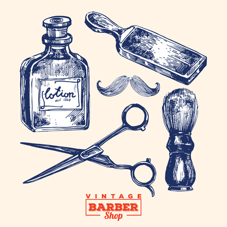 éléments barbershop Vintage. Y compris la bouteille de lotion, rasoir affûteur, ciseaux, brosse de coiffure et la moustache