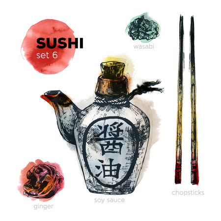 japanese cuisine: Hand Drawn Sushi Set. Japanese cuisine. Including soy sauce, chopsticks, ginger and wasabi. Ink illustration with watercolor background. Vintage style. Illustration