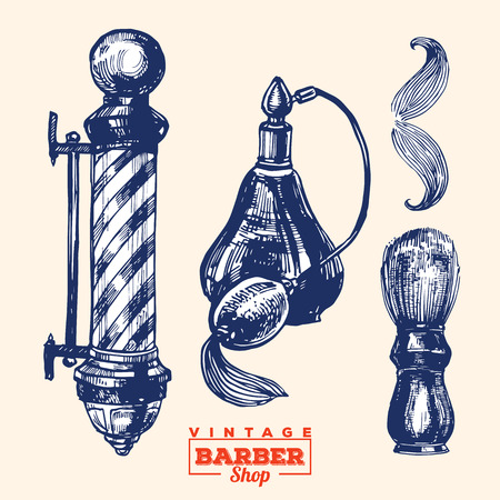 barbershop: Vintage barbershop elements. Set 1. Including barbershop pole, perfume bottle, barber brush and moustache