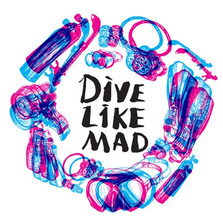 regulator: Scuba Diving Equipment Sketch Set round composition. Including mask, snorkel, air tank, fins, regulator and dive light Illustration
