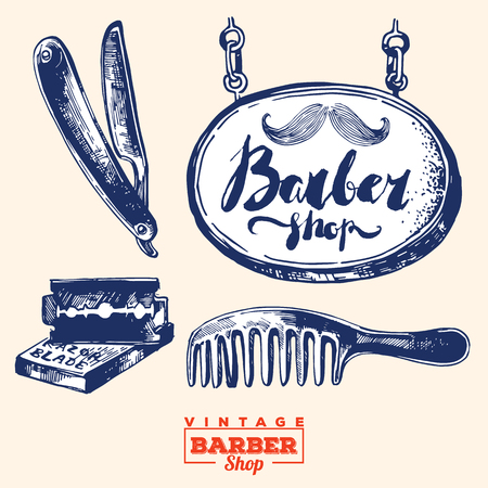 barbershop: Vintage barbershop elements. Including barbershop sign, shaver, comb and razorblade
