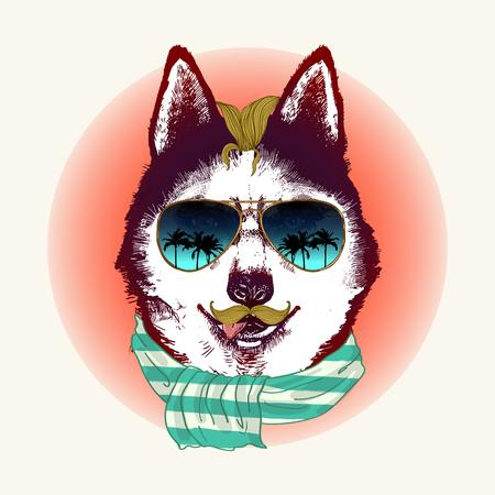 Hipster husky hond in zonnebril. Hand getrokken mode dierlijke illustratie. Stock Illustratie