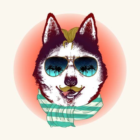 Hipster husky dog in sunglasses. Hand drawn fashion animal illustration. Stock Illustratie