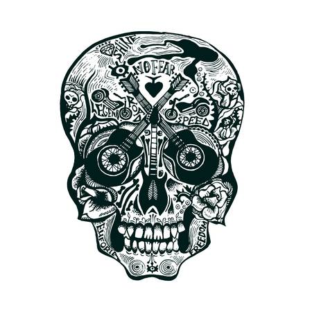 Hand Drawn Skull in rock-n-roll and old school tattoo style. Illustration