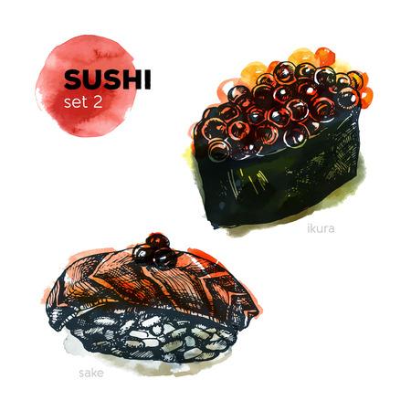 egg roll: Hand Drawn Sushi Set. Japanese cuisine. Including sake and ikura. Ink illustration with watercolor background. Vintage style. Illustration