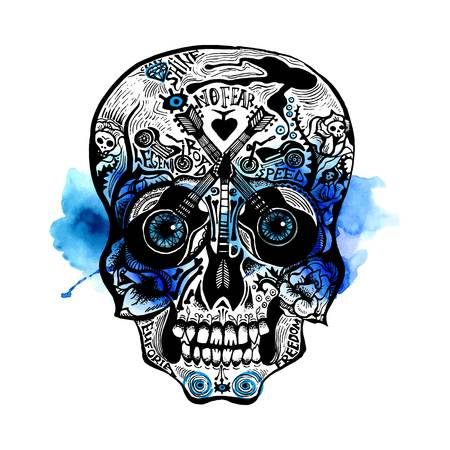 Hand Drawn Skull in rock-n-roll and old school tattoo style with watercolor splashes.