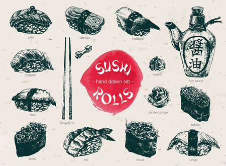Hand Drawn Sushi Set. Japanese cuisine. Ink illustration on craft paper background. Vintage style.