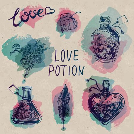 Poción de amor de la acuarela fijado en el fondo Arte de papel. tarros y frascos con bellos corazones dentro. Adecuado para la decoración de San Valentín. Ilustración de vector