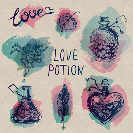 Poción de amor de la acuarela fijado en el fondo Arte de papel. tarros y frascos con bellos corazones dentro. Adecuado para la decoración de San Valentín.
