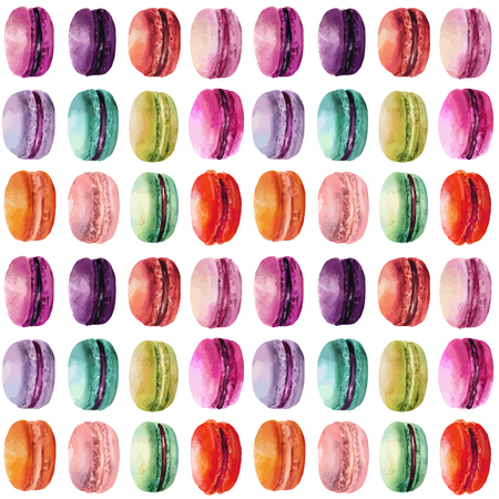 Watercolor macaron seamless pattern. French dessert with different tastes and bright colors.