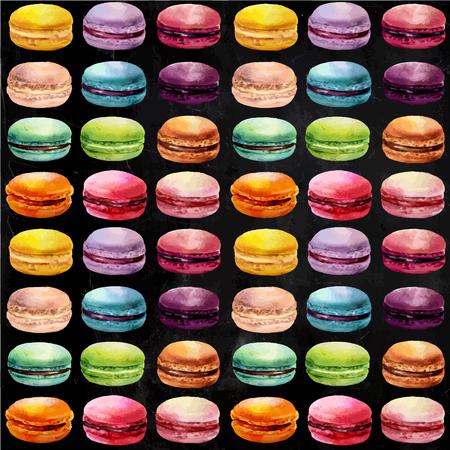 Watercolor macaron naadloos patroon. Franse dessert met verschillende smaken en heldere kleuren.