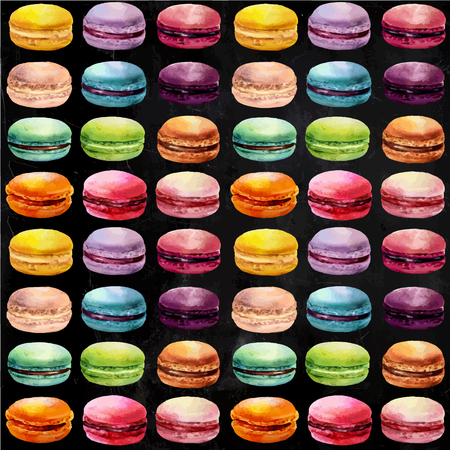 macaron: Watercolor macaron seamless pattern. French dessert with different tastes and bright colors.