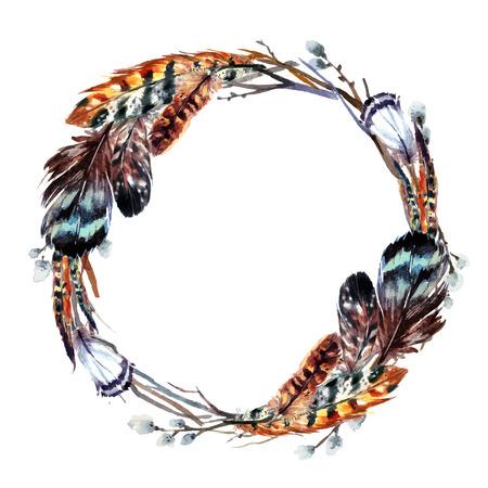 Watercolor krans met veren in boho stijl. Geïsoleerd op een witte achtergrond.