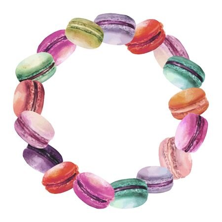 tastes: Watercolor round frame with different tastes colored macarons.