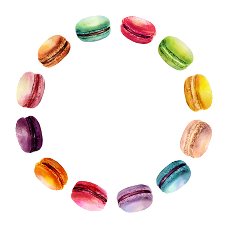 Watercolor round frame with different tastes colored macarons.