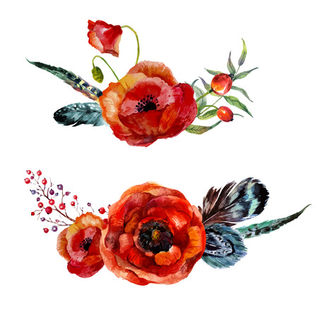 Watercolor flowers bouquet. Hand-drawn vintage red poppies and feathers isolated on white background. Ilustração