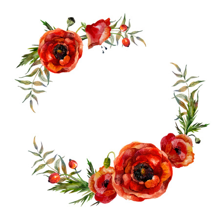 poppies: Watercolor floral wreath. Fashion boho style (shabby chic, hippie). Watercolor poppies round frame.