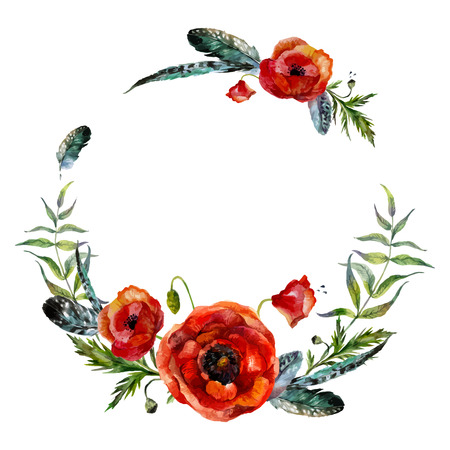 Watercolor floral wreath. Fashion boho style (shabby chic, hippie). Watercolor poppies and feathers round frame. Иллюстрация
