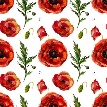 aquarell: Watercolor poppies seamless pattern. Retro seamless floral pattern with vintage aquarell red flower poppy.  Fashion boho style (shabby chic, hippie)