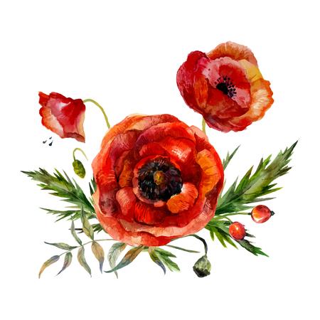 수채화 꽃 꽃다발입니다. 손으로 그린 빈티지 빨간 양 귀 비 흰색 배경에 고립입니다.
