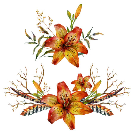 tiger lily: Watercolor Tiger lily bouquet of feathers, branches and wild herbs. Isolated on white background Illustration